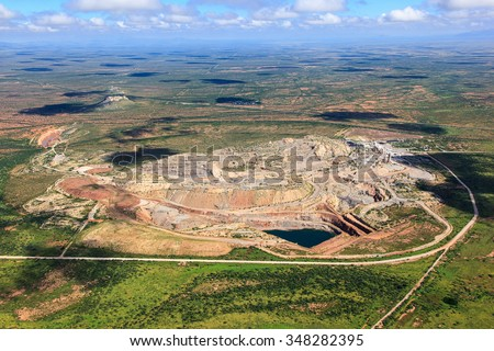 Mining in Arizona just north of the U.S./Mexico border between Bisbee and Douglas viewed from above looking north - stock photo