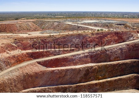 Mining in Australia at the Cobar mine site - stock photo