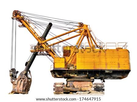 Mining industry machine - vintage excavator. Isolated on white - stock photo