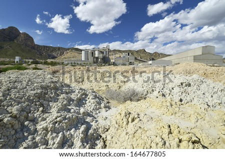 mining plant with loam heaps - stock photo