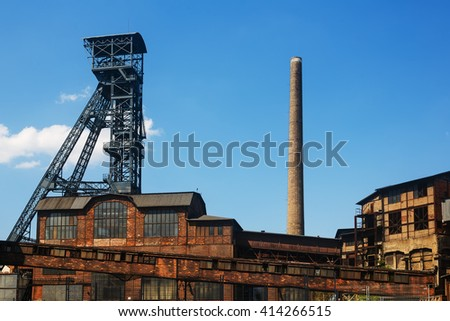 mining tower old Ví­tkovice, Ostrava - stock photo