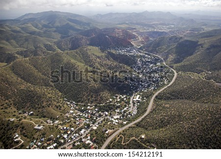 Mining town of Bisbee in southeast Arizona from above - stock photo