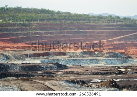 Mining truck working at the lignite opencast , Mae Moh, Lampang ,Thailand. - stock photo