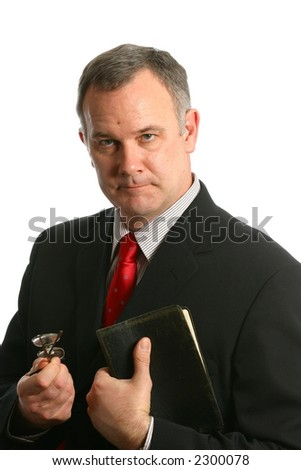 Minister preaching or giving advice - stock photo
