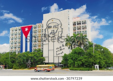 Ministry of the Interior building, featuring iron mural of Che Guevara's face at the Revolution Square in Havana, Cuba