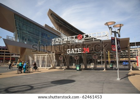 MINNEAPOLIS - APRIL 21: Brand new Target Field, home of the Minnesota Twins, a ballpark that returns outdoor baseball to the city, on April 21, 2010 in Minneapolis, Minnesota. - stock photo