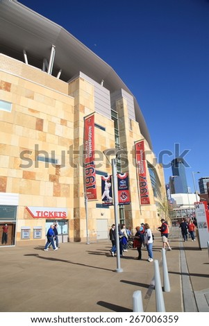 MINNEAPOLIS - APRIL 21: Fans arrive at Target Field, home of the Minnesota Twins, on April 21, 2010 in Minneapolis, Minnesota. The ballpark opened in 2010 and seats 39,504. - stock photo