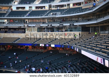 MINNEAPOLIS - APRIL 22: Press bax of brand new Target Field, home of the Minnesota Twins, a ballpark that returns outdoor baseball to the city, on April 22, 2010 in Minneapolis, Minnesota. - stock photo