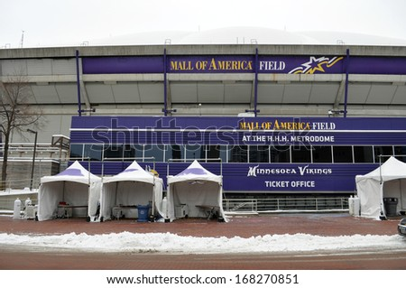 MINNEAPOLIS - DECEMBER 21:  The Mall of America Field, as seen on December 21, 2013, in Minneapolis.  The stadium is scheduled to be torn down in the beginning of 2014. - stock photo