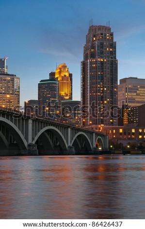 Minneapolis. Image of Minneapolis downtown at twilight. - stock photo