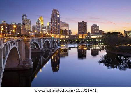 Minneapolis. Image of Minneapolis downtown skyline at sunset. - stock photo