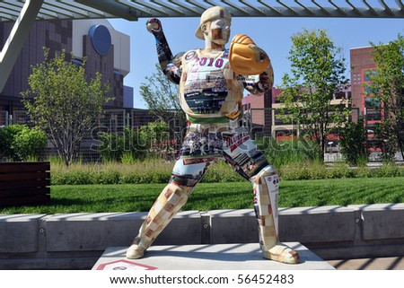MINNEAPOLIS - JULY 3:  Statue of Minnesota Twins star Joe Mauer, as seen on July 3, 2010 in Minneapolis. 50 Joe Mauer statues are spread around  Mpls. to celebrate the Twins 50 seasons in Minnesota. - stock photo