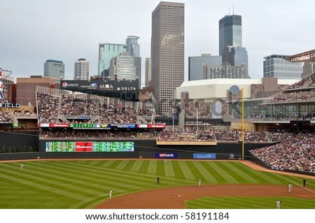MINNEAPOLIS - JULY 30:  The Minnesota Twins play the Seattle Mariners in the first season of Target Field, on July 30, 2010 in Minneapolis. - stock photo