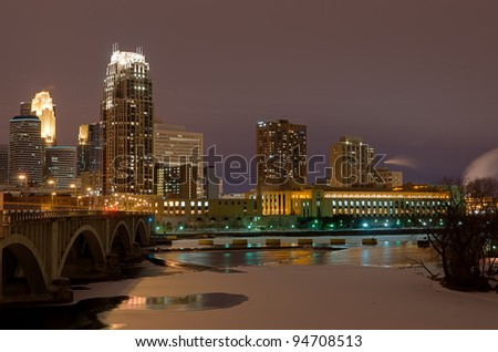 Minneapolis Minnesota at Night from the Third Avenue Bridge Overlooking St Anthony Falls