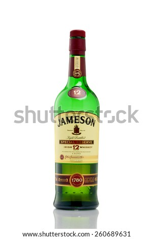 MINNEAPOLIS MINNESOTA, UNITED STATES OF AMERICA - March 2015: Jameson 12 Year Special Reserve Whisky. Jameson is a Famous Alcoholic Drink - stock photo