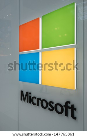 MINNEAPOLIS,MN - JULY 28: Large Microsoft Corporation logo in Mall of America, in Minneapolis, MN, on July 28, 2013. The company was founded by Bill Gates and Paul Allen on April 4, 1975. - stock photo