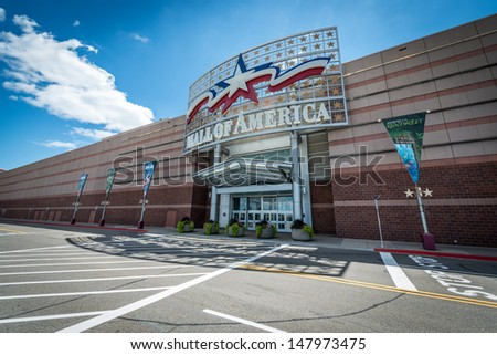 MINNEAPOLIS, MN - JULY 28:  Mall of America main entrance, on July 28, 2013, in Minneapolis, MN. The largest mall in the United States, occupying 5.6 million square feet, or 520,000 square meters. - stock photo