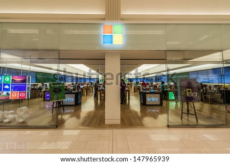 MINNEAPOLIS,MN - JULY 28: Microsoft store in Mall of America, in Minneapolis, MN, on July 28, 2013. The company was founded by Bill Gates and Paul Allen on April 4, 1975. - stock photo