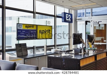 Minneapolis, MN -25 MAY 2016- Check-in area for Spirit Airlines (NK) at the Minneapolis-Saint Paul International Airport (MSP).