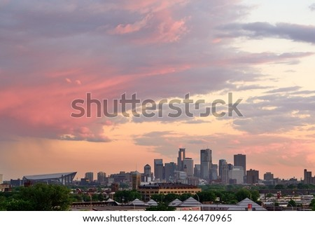 MINNEAPOLIS, MN - MAY 24 2016: Downtown Minneapolis Skyline with Minnesota Vikings US Bank Stadium at Sunset