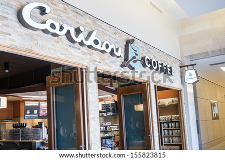 MINNEAPOLIS,MN - SEPTEMBER 26:Caribou Coffee store and logo in Mall of America, in Minneapolis, MN, on September 26, 2013. - stock photo