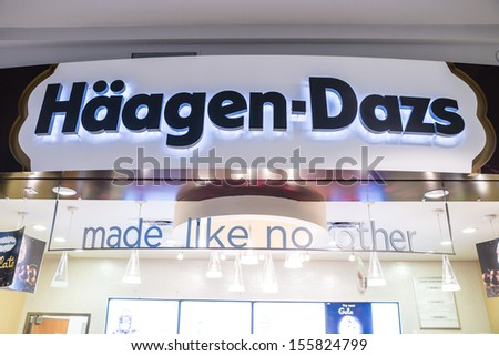 MINNEAPOLIS,MN - SEPTEMBER 26: Haagen Dazs store and logo in Mall of America, in Minneapolis, MN, on September 26, 2013. - stock photo