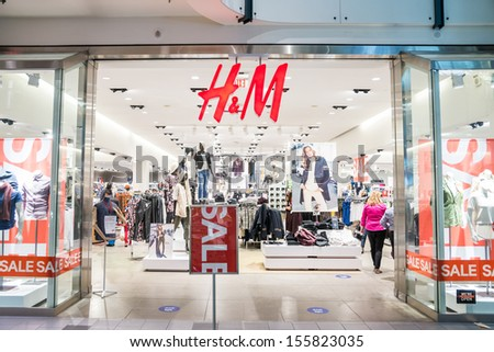 MINNEAPOLIS,MN - SEPTEMBER 26: HM store and logo in Mall of America, in Minneapolis, MN, on September 26, 2013. - stock photo