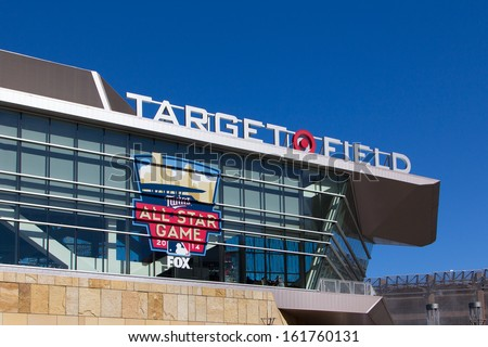MINNEAPOLIS, MN/USA - September 29:  Exterior of Target Field, home of the Minnesota Twins Major League Baseball team.  Target Field is site of 2014 Major League All Star Game.  September 29, 2014. - stock photo