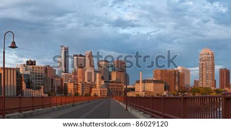 Minneapolis. Panoramic image of Minneapolis downtown at sunrise. - stock photo