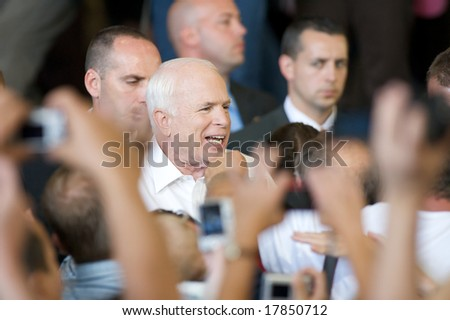 Minneapolis - September 19, 2008 - Senator John McCain greets supporters at a campaign rally
