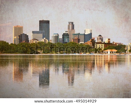 Minneapolis Skyscrapers Reflecting in Lake Calhoun with Vintage Effects