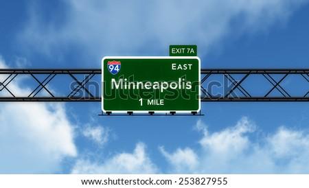 Minneapolis USA Interstate Highway Sign 3D Illustration - stock photo