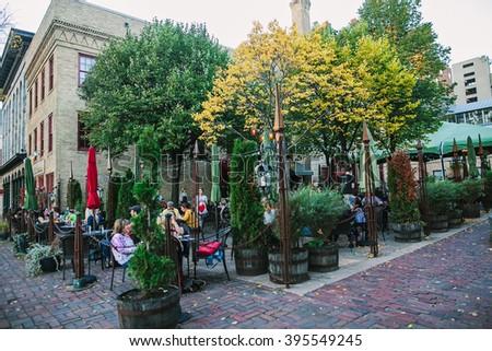 MINNEAPOLIS, USA - OCTOBER 12: Downtown Minneapolis, Minnesota, Restaurant on the autumn street. - stock photo
