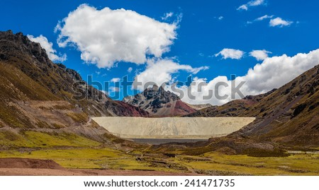Minnery waste in peruvian Andes. - stock photo
