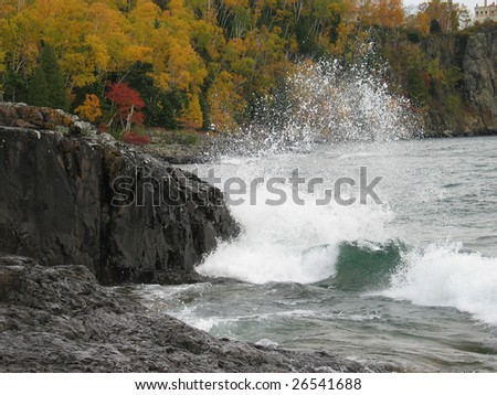 Minnesota north shore waves in fall - stock photo