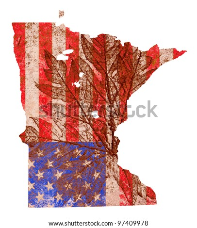 Minnesota state of the United States of America in grunge flag pattern isolated on white background - stock photo