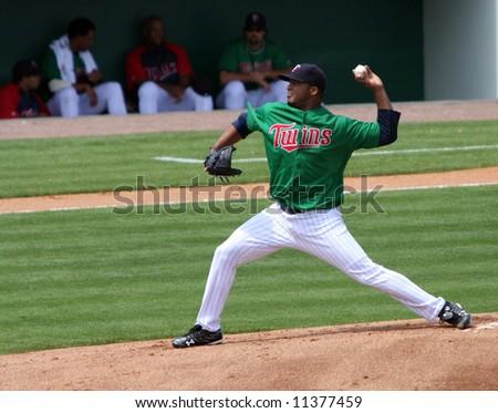 Minnesota Twins pitcher Francisco Liriano on the mound - stock photo