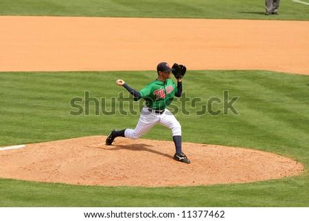 Minnesota twins reliever Pat Neshek on the pitching mound - stock photo
