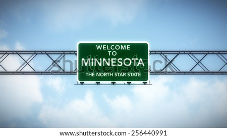 Minnesota USA State Welcome to Highway Road Sign 3D Illustration - stock photo