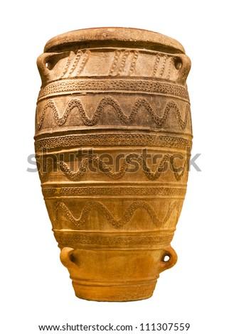 Minoan large storage jar from Knossos palace (1450-1400 B.C.) isolated - stock photo