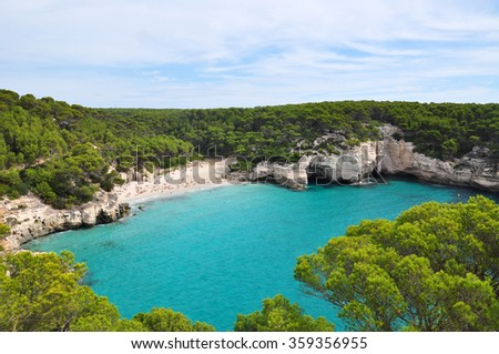 Minorca island view - beautiful lagoons and clear Balearic sea - stock photo