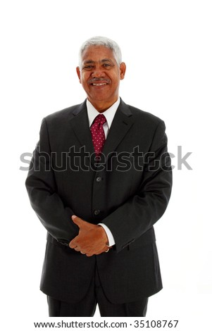Minority businessman set against a white background - stock photo