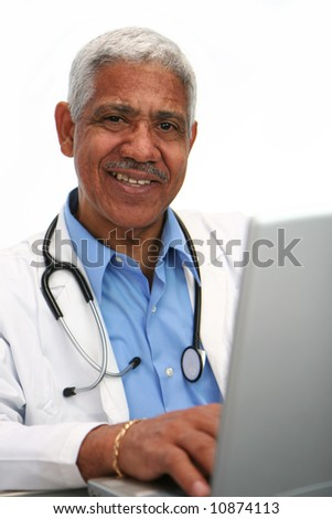 Minority doctor set on white background - stock photo