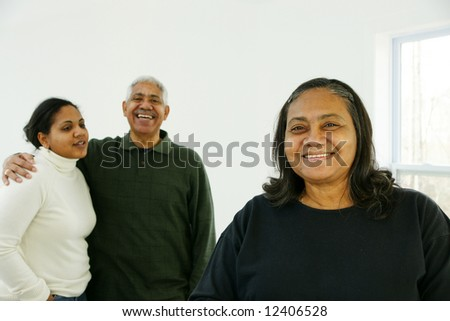 Minority family spending time together at home