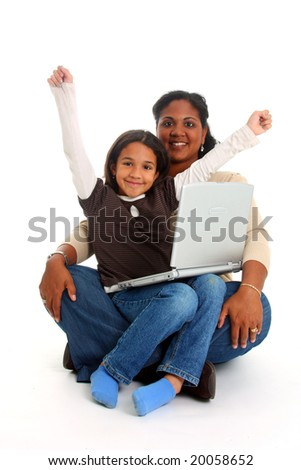 Minority woman and her daughter on white background - stock photo
