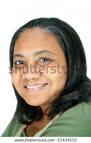 Minority woman set against a white background