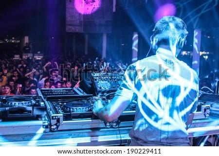 MINSK, BELARUS - APRIL 16, 2011: DJ Eddie Halliwell performs at Urban Wave festival on April 16, 2011 in Minsk, Belarus - stock photo