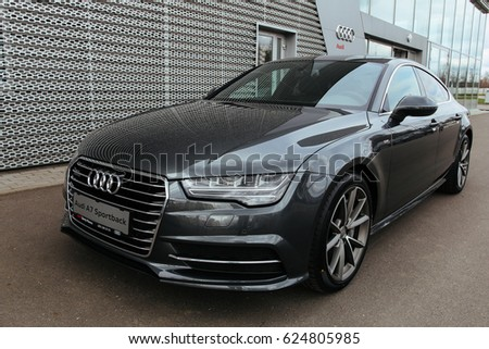 MINSK, BELARUS APRIL 14, 2017: New Audi A7 Sportback Near The Dealership Of