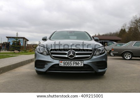 MINSK, BELARUS APRIL 21, 2016: New Mercedes-Benz W213 e220d at the test drive event for automotive journalists from Minsk