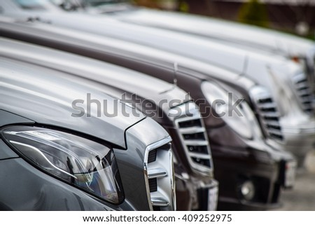 MINSK, BELARUS - APRIL 21, 2016: Range of 6 generation of modern Mercedes-Benz E-class are on display during a presentation event in Minsk, Belarus.